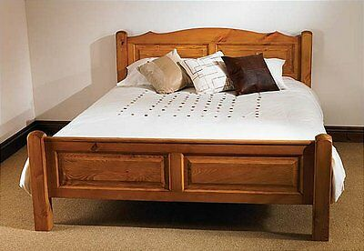 Milton waxed pine furniture double bed frame 4'6
