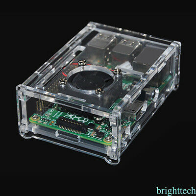 Transparent Clear Case Enclosure Box+Cooling Fan for Raspberry Pi 2 3 Model B
