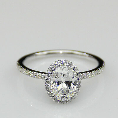 Oval Cut 1.5ct Moissanite Halo Pave Accent 14k White Gold Engagement Ring