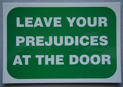 Leave Your Prejudices At The Door Or.... Advert Propaganda Postcard
