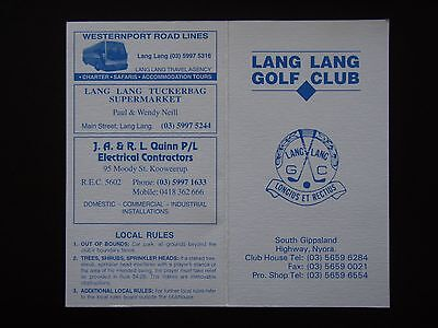 Lang Lang Golf Club Nyora Score Card