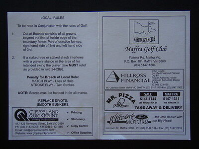 Maffra Golf Club - Score Card
