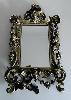 Antique Baroque Style Cast Brass Easel Table/Dresser /Wall Mirror