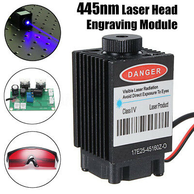 12V 445nm Laser Head Engraving Module Marking Diode For CNC Engraver w/Glasses
