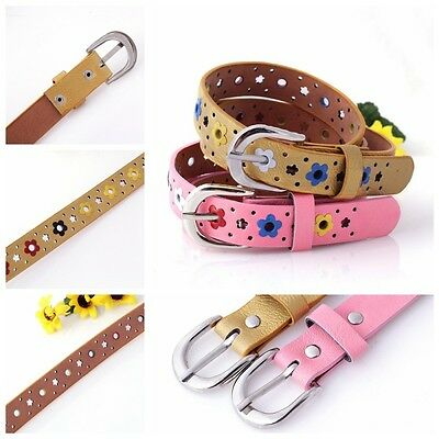 Kids Baby Boy Girl Faux Leather Hollow Flower Waist Belt With Silver Buckle Lots