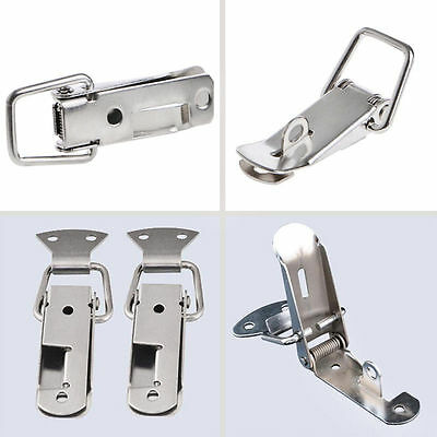 4 Pcs Silver Hardware Cabinet Boxes Spring Loaded Latch Catch Toggle Hasp