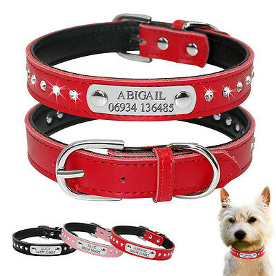 Rhinestone Leather Personalised Dog Collars Bling Cute for Small Dogs Chihuahua
