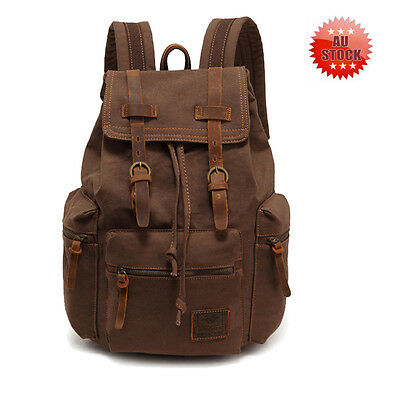 Vintage Canvas Outdoor Travel Hiking men Backpack Rucksack Satchel Back Bag AU