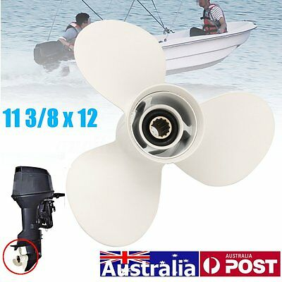 Boat Propeller 11 3/8 X 12G Engines 3 Blade Prop Aluminium for Yamaha 40 50 60HP