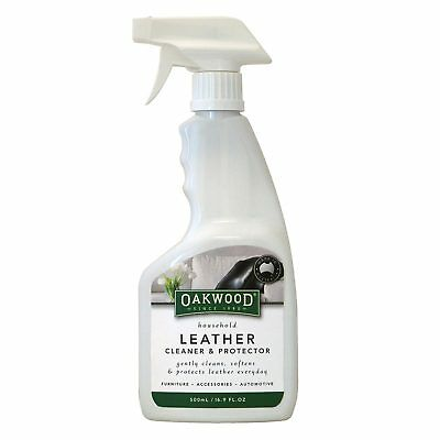 Oakwood Leather Cleaner & Protector 500ml Stain Remover Dirt Oils Couch Chair