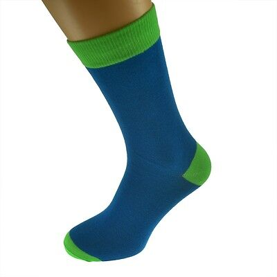 Blue Mens Socks withLime Green heal and toes, popular Wedding Day Socks  X6TC001