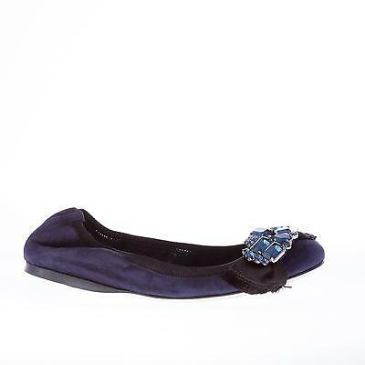 MIU MIU women shoes Navy suede flat with crystal jeweled black grosgrain bow a9fd6c5c27c
