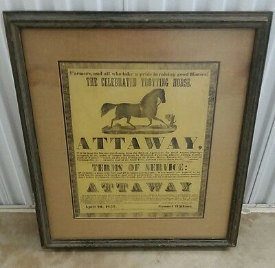 Attaway Trotting Horse Equine Antique 1857 Advertisement Chester County Pa
