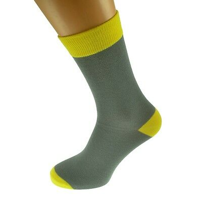 Grey Mens Socks with Yellow  heal and toes, popular Wedding Day Socks  X6TC004