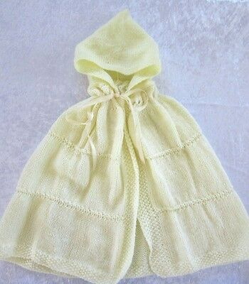 BABY HOODED CAPE / Wrap - HAND KNITTED -Pastel Yellow  - Fit approx to 6 mths.
