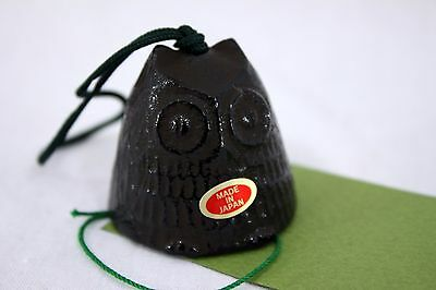 風鈴 FURIN - Mini cloche à vent métal NOIR HIBOU Made in Japan - Import Japon
