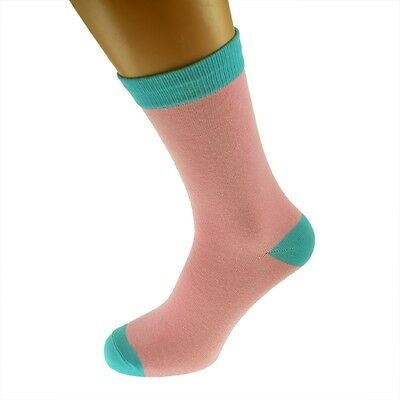Pink Mens Socks with Turquoise heal and toes, popular Wedding Day Socks  X6TC008