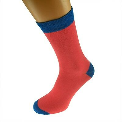 Salmon Mens Socks with Blue heal and toes, popular Wedding Day Socks  X6TC010