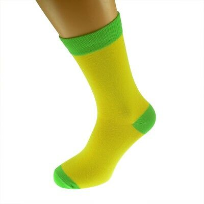 Yellow Mens Socks with Lime heal and toes, popular Wedding Day Socks  X6TC011