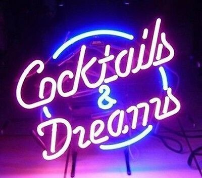 "17""x14"" COCKTAILS AND DREAMS REAL GLASS TUBE NEON LIGHT SIGN TAVERN BEER BAR PUB"