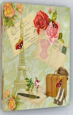 Vintage Paris Shabby Chic Canvas Picture Print Wall Art Chunky Frame Large 312-2