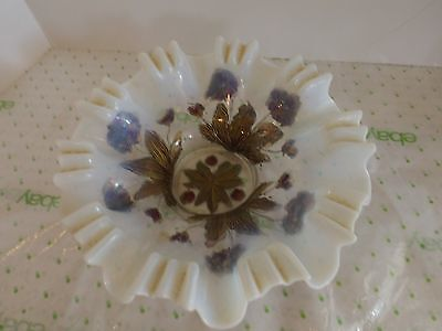 ANTIQUE DUGAN GLASS CO Opalescent GOOFUS Bowl RED & Gold WILTED FLOWERS VGUC