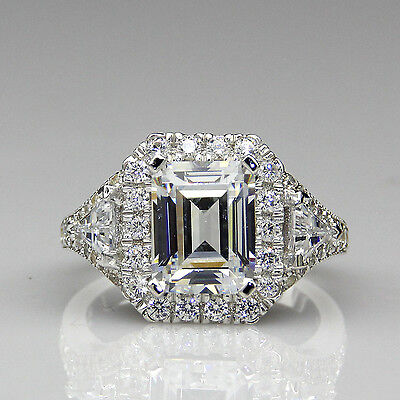 Emerald Cut 2ct Moissanite Halo Antique Filigree 14K White Gold Engagement Ring