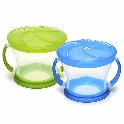 Baby Snack Catcher Cups Feeding Bowl BPA Free Cereal With Lids Spill Proof 2 Set