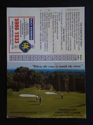 Rosebud Park Public Golf Course - Score Card