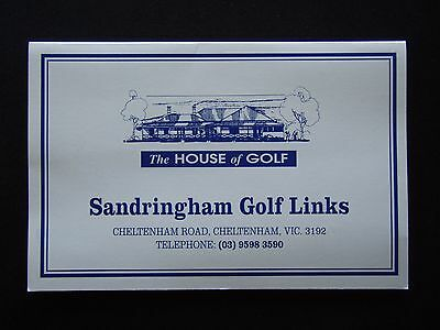 Sandringham Golf Links Score Card