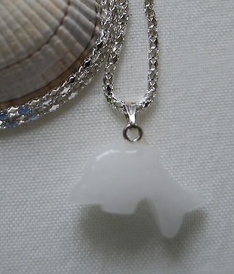 """Lovely white agate dolphin natural gemstone pendant silver plated necklace 16"""""""