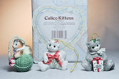 Calico Kittens: Three Kittens 178462 - Set of 3 Ornaments - Bow, Gift, Stocking