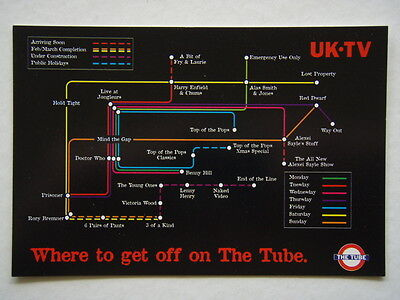 Uk Tv Where To Get Off On The Tube Late-Night British Avant Card #1875 Postcard
