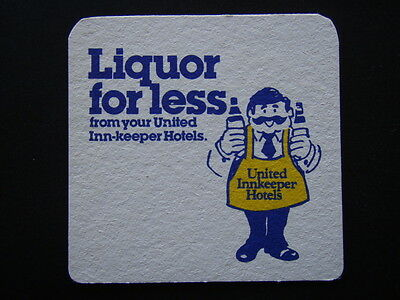 UNITED INNKEEPER HOTELS LIQUOR FOR LESS c1984 COASTER