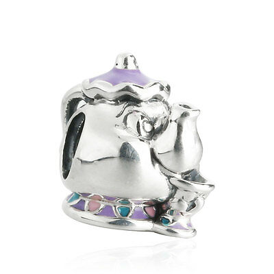 authentic 925 Sterling Silver Bead Enamel Mrs. Potts & Chip Charm Beads Cartoon