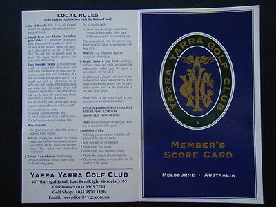 Yarra Yarra Golf Club Member's East Bentleigh - Score Card