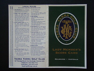 Yarra Yarra Golf Club Lady Member's - Score Card