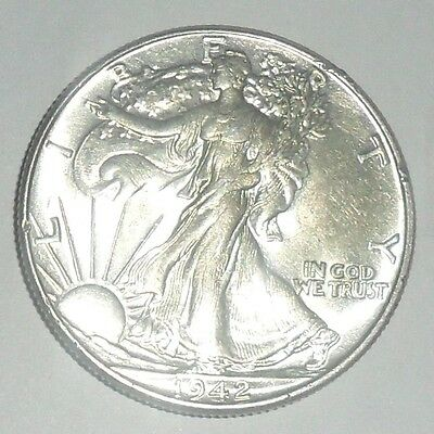 Uncirculated 1942 Walking Liberty Silver Half Dollar    ENN Coins