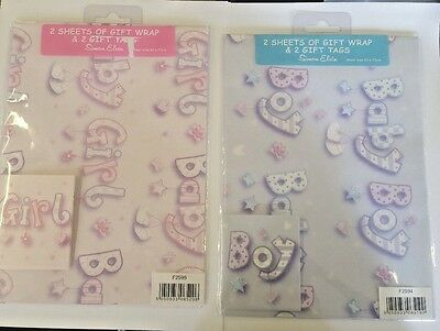 Baby Boy Or Baby Girl Gift Wrap Wrapping Paper 2 Sheets And 2 Gift Tags