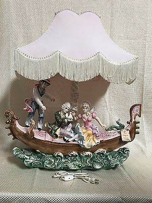 """Antique LARGE CAPODIMONTE Figurine LAMP Ship with 3 People 27""""W x 22""""H~L@@K~"""