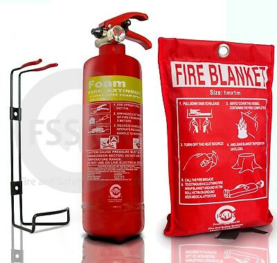 1 LITRE FOAM FIRE EXTINGUISHER WITH BLANKET. CARS TAXI HOME WORK. CE Mark