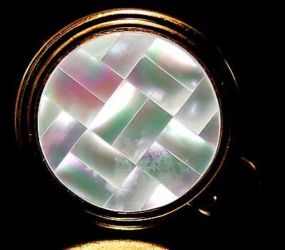 RARE ANTIQUE GOLD TONE LIPSTICK HOLDER CASE & MOTHER of PEARL ROUND MIRROR COMBO