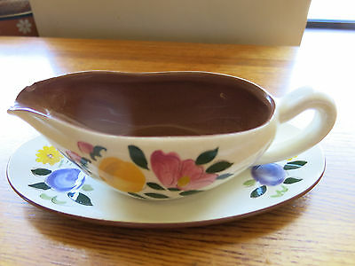 Vintage Stangl Pottery FRUIT and FLOWERS Ceramic Gravy Boat w/ Underplate