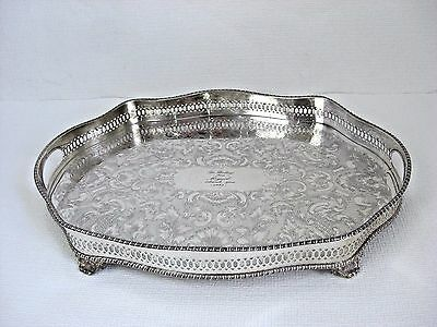 Large 20th Century Vintage Engraved Silver Plate Handled Tray Footed Ref E2