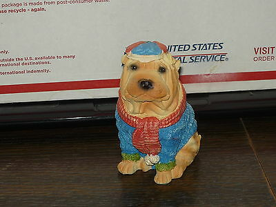 Shar Pei Puppy Dog Figurine,with, Hat & Sweater