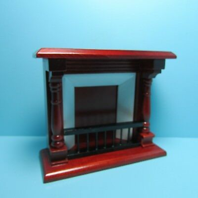 Dollhouse Miniature Wood Fireplace with Large Mantle Walnut ~ T0014-3