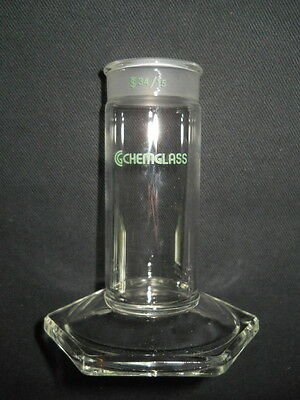 "Chemglass 1"" x 3"" Plate TLC Developing Chamber Bottom with 34/15 Joint (Chipped)"