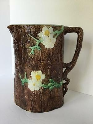 "J Holdcroft Majolica Pitcher Extra Large 10"" Dogwood Blossom Branch Handle 1880"