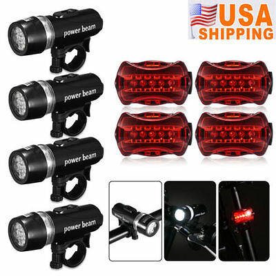 4x Waterproof Lamp Bike Bicycle Front 5 LED Head Light + Rear Safety Flashlight