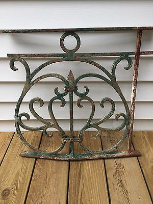 Antiques Iron Curved French Architectural Salvage Window Guard In Org. Paint